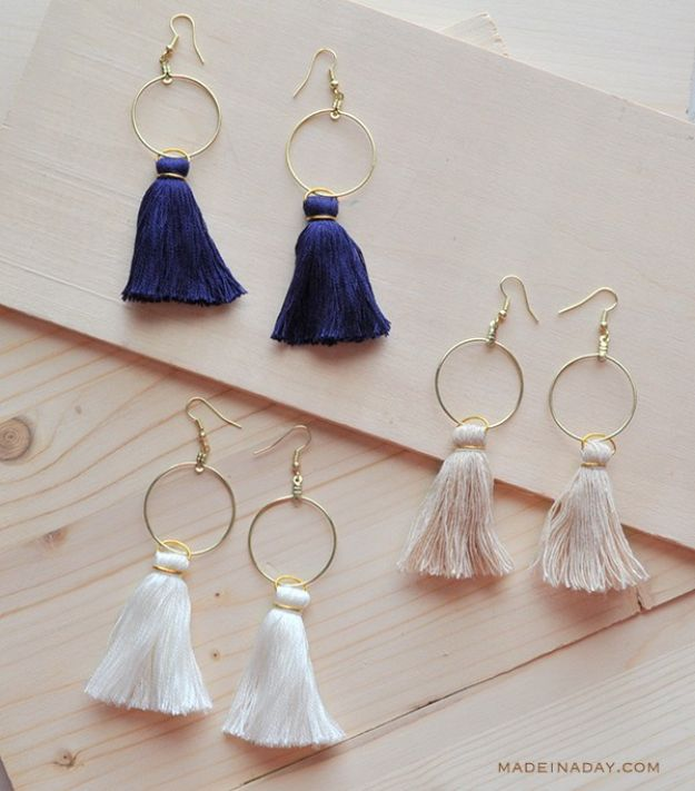 Cool Gifts to Make For Mom - DIY Hoop Tassel Earrings - DIY Gift Ideas and Christmas Presents for Your Mother, Mother-In-Law, Grandma, Stepmom - Creative , Holiday Crafts and Cheap DIY Gifts for The Holidays - Thoughtful Homemade Spa Day Gifts, Creative Wall Art, Special Ideas for Her - Easy Xmas Gifts to Make With Step by Step Tutorials and Instructions http://diyjoy.com/cheap-holiday-gift-ideas-to-make