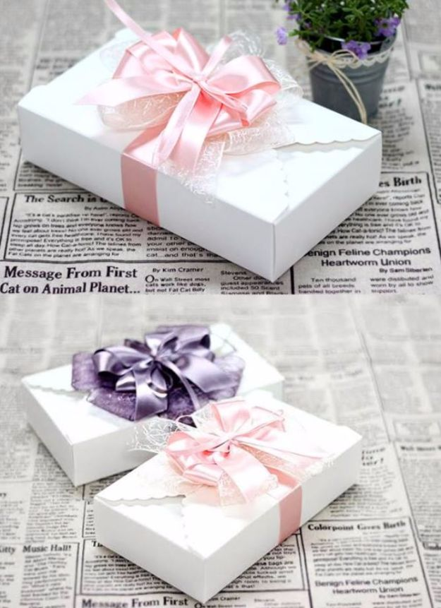 Creative Bows For Packages - DIY Ribbon Bow - Make DIY Bows for Christmas Presents and Holiday Gifts - Cute and Easy Ideas for Making Your Own Bows and Ribbons - Step by Step Tutorials and Instructions for Tying A Bow - Cheap and Crafty Gift Wrapping Ideas on A Budget http://diyjoy.com/diy-bows-gifts-packages