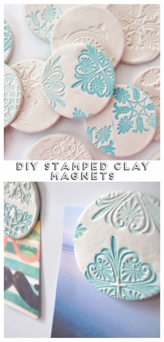 Cheap DIY Gifts and Inexpensive Homemade Christmas Gift Ideas for People on A Budget - DIY Stamped Clay Magnets - To Make These Cool Presents Instead of Buying for the Holidays - Easy and Low Cost Gifts for Mom, Dad, Friends and Family - Quick Dollar Store Crafts and Projects for Xmas Gift Giving Parties - Step by Step Tutorials and Instructions http://diyjoy.com/cheap-holiday-gift-ideas-to-make