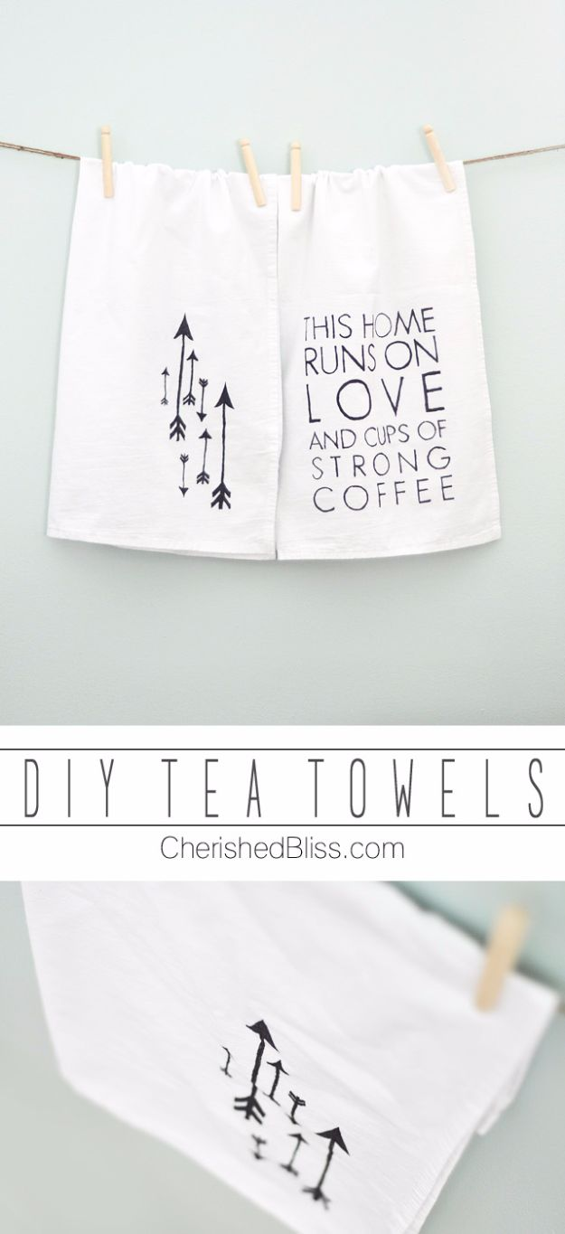 Cheap DIY Gifts and Inexpensive Homemade Christmas Gift Ideas for People on A Budget - DIY Tea Towels - To Make These Cool Presents Instead of Buying for the Holidays - Easy and Low Cost Gifts for Mom, Dad, Friends and Family - Quick Dollar Store Crafts and Projects for Xmas Gift Giving Parties - Step by Step Tutorials and Instructions http://diyjoy.com/cheap-holiday-gift-ideas-to-make