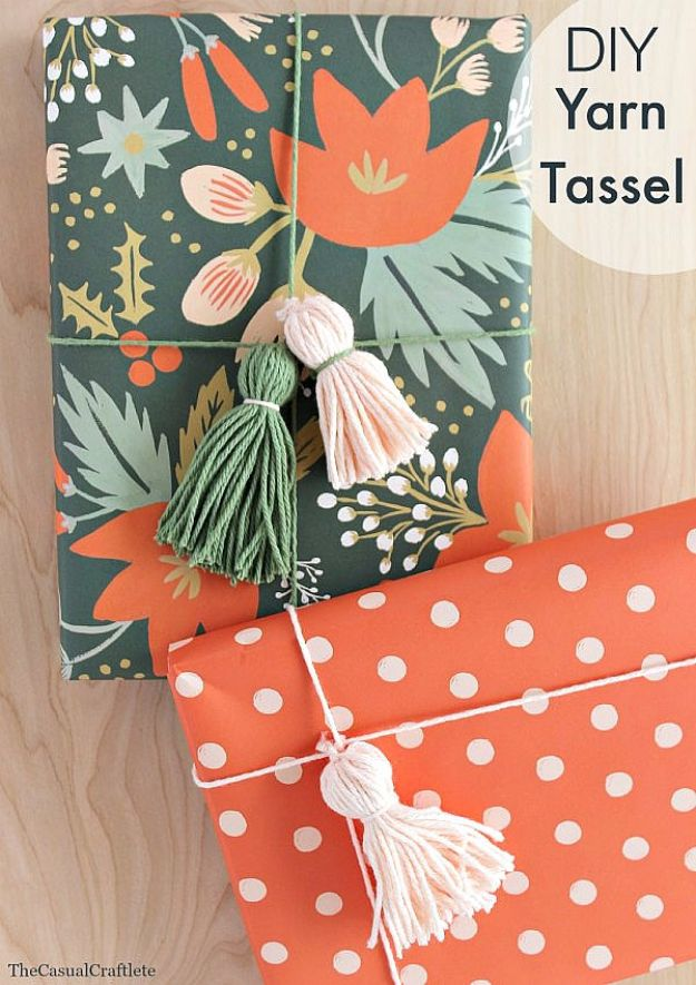 Cool Gift Wrapping Ideas - DIY Yarn Tassel - Creative Ways To Wrap Presents on A Budget - Best Christmas Gift Wrap Ideas - How To Make Gift Bags, Reuse Wrapping Paper, Make Bows and Tags - Cute and Easy Ideas for Wrapping Gifts for the Holidays - Step by Step Instructions and Photo Tutorials http://diyjoy.com/gift-wrapping-tutorials