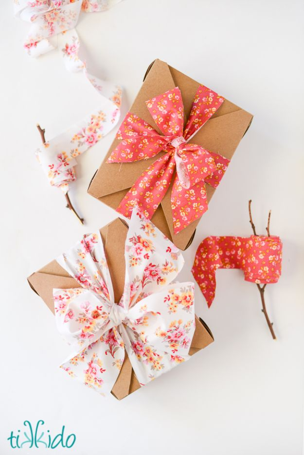 Creative Bows For Packages - Fabric Ribbon - Make DIY Bows for Christmas Presents and Holiday Gifts - Cute and Easy Ideas for Making Your Own Bows and Ribbons - Step by Step Tutorials and Instructions for Tying A Bow - Cheap and Crafty Gift Wrapping Ideas on A Budget http://diyjoy.com/diy-bows-gifts-packages