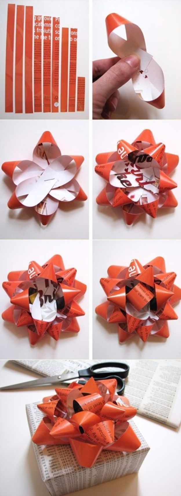 Creative Bows For Packages - Gift Bow From A Magazine Page - Make DIY Bows for Christmas Presents and Holiday Gifts - Cute and Easy Ideas for Making Your Own Bows and Ribbons - Step by Step Tutorials and Instructions for Tying A Bow - Cheap and Crafty Gift Wrapping Ideas on A Budget http://diyjoy.com/diy-bows-gifts-packages