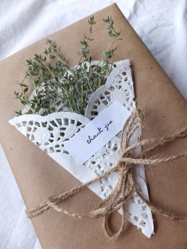Cool Gift Wrapping Ideas - Gift Wrapping With herbs And Doilies - Creative Ways To Wrap Presents on A Budget - Best Christmas Gift Wrap Ideas - How To Make Gift Bags, Reuse Wrapping Paper, Make Bows and Tags - Cute and Easy Ideas for Wrapping Gifts for the Holidays - Step by Step Instructions and Photo Tutorials http://diyjoy.com/gift-wrapping-tutorials