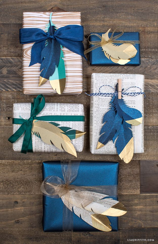 Cool Gift Wrapping Ideas - Gold Tipped Paper Feathers - Creative Ways To Wrap Presents on A Budget - Best Christmas Gift Wrap Ideas - How To Make Gift Bags, Reuse Wrapping Paper, Make Bows and Tags - Cute and Easy Ideas for Wrapping Gifts for the Holidays - Step by Step Instructions and Photo Tutorials http://diyjoy.com/gift-wrapping-tutorials