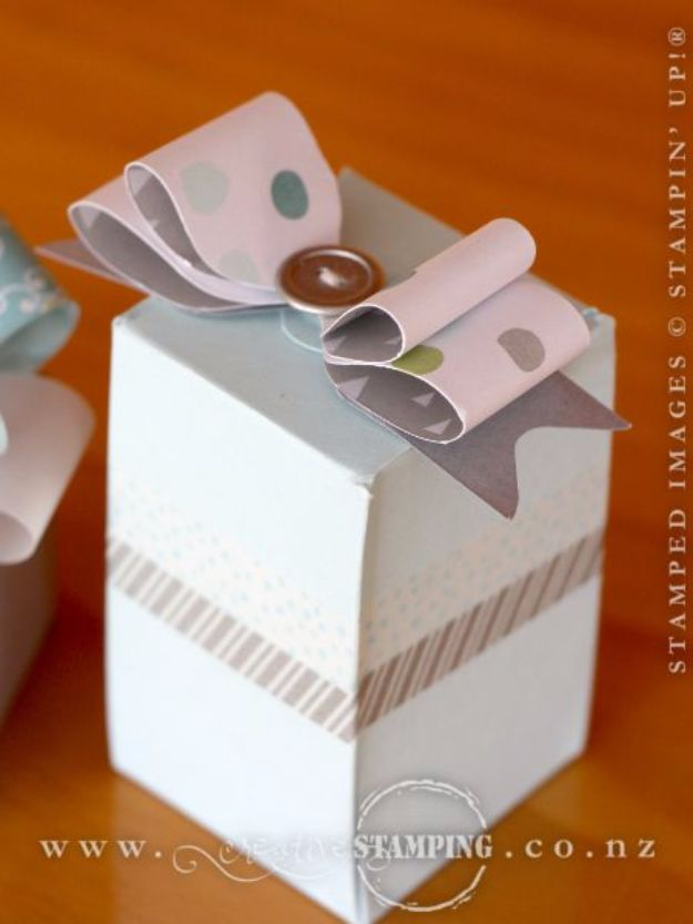Creative Bows For Packages - Paper Bows With The Gift Box Punch Board - Make DIY Bows for Christmas Presents and Holiday Gifts - Cute and Easy Ideas for Making Your Own Bows and Ribbons - Step by Step Tutorials and Instructions for Tying A Bow - Cheap and Crafty Gift Wrapping Ideas on A Budget http://diyjoy.com/diy-bows-gifts-packages