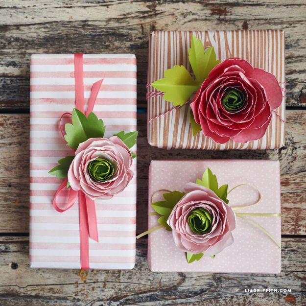 Creative Bows For Packages - Paper Ranunculus Flowers - Make DIY Bows for Christmas Presents and Holiday Gifts - Cute and Easy Ideas for Making Your Own Bows and Ribbons - Step by Step Tutorials and Instructions for Tying A Bow - Cheap and Crafty Gift Wrapping Ideas on A Budget http://diyjoy.com/diy-bows-gifts-packages