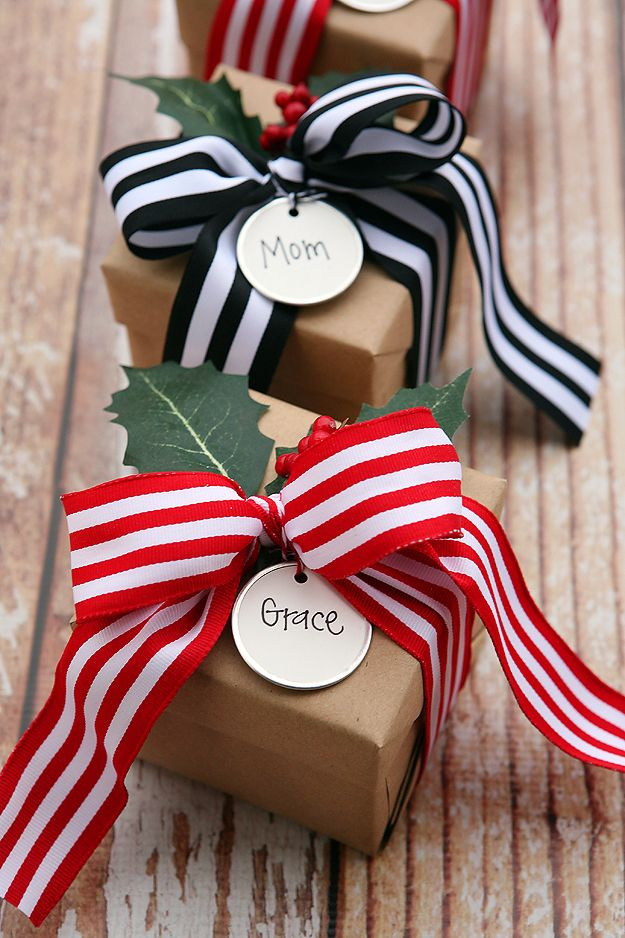 Creative Bows For Packages - Pretty Striped Ribbon Bow - Make DIY Bows for Christmas Presents and Holiday Gifts - Cute and Easy Ideas for Making Your Own Bows and Ribbons - Step by Step Tutorials and Instructions for Tying A Bow - Cheap and Crafty Gift Wrapping Ideas on A Budget http://diyjoy.com/diy-bows-gifts-packages