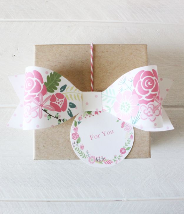 Creative Bows For Packages - Printable Floral Paper Bow - Make DIY Bows for Christmas Presents and Holiday Gifts - Cute and Easy Ideas for Making Your Own Bows and Ribbons - Step by Step Tutorials and Instructions for Tying A Bow - Cheap and Crafty Gift Wrapping Ideas on A Budget http://diyjoy.com/diy-bows-gifts-packages