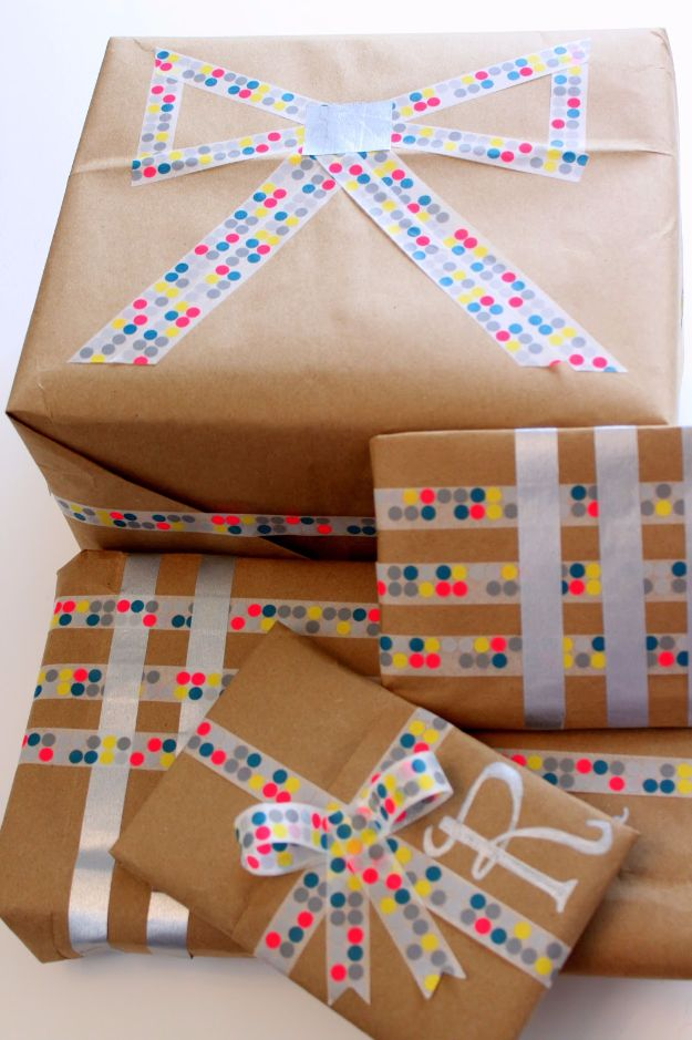 Creative Bows For Packages - Washi Tape Bow - Make DIY Bows for Christmas Presents and Holiday Gifts - Cute and Easy Ideas for Making Your Own Bows and Ribbons - Step by Step Tutorials and Instructions for Tying A Bow - Cheap and Crafty Gift Wrapping Ideas on A Budget http://diyjoy.com/diy-bows-gifts-packages
