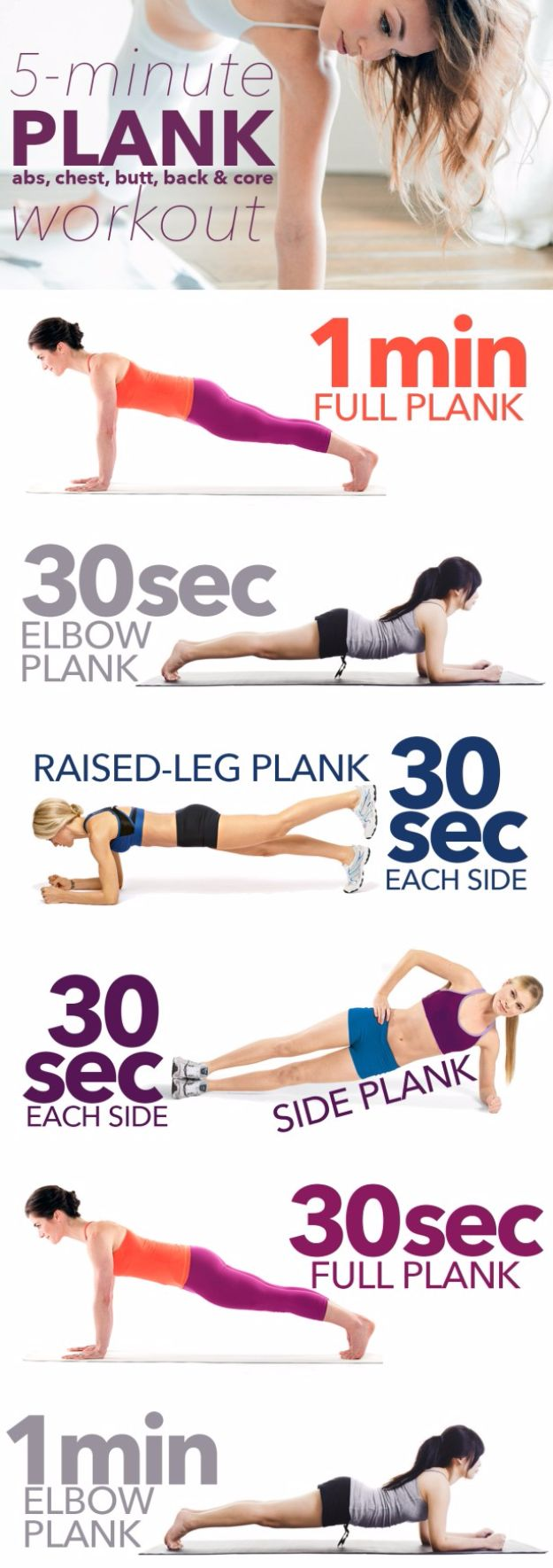 "Best Exercises for 2018 - 5-minute ""Almost-No-Work"" Plank Workout - Easy At Home Exercises - Quick Exercise Tutorials to Try at Lunch Break - Ways To Get In Shape - Butt, Abs, Arms, Legs, Thighs, Tummy http://diyjoy.com/best-at-home-exercises-2018"