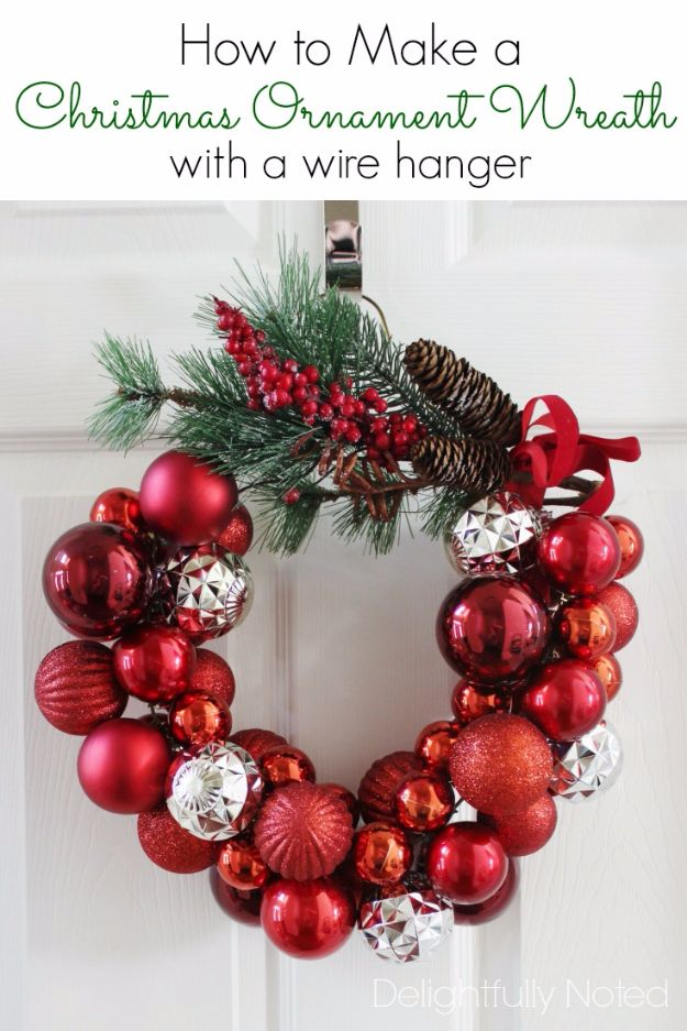 Cheap DIY Christmas Decor Ideas and Holiday Decorating On A Budget - Christmas Ornament Wreath With A Wire Hanger - Easy and Quick Decorating Ideas for The Holidays - Cool Dollar Store Crafts for Xmas Decorating On A Budget - wreaths, ornaments, bows, mantel decor, front door, tree and table centerpieces #christmas #diy #crafts