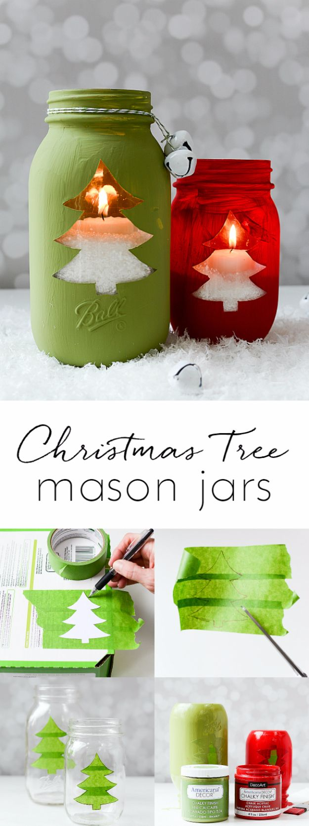 Cheap DIY Christmas Decor Ideas and Holiday Decorating On A Budget - Christmas Tree Mason Jars - Easy and Quick Decorating Ideas for The Holidays - Cool Dollar Store Crafts for Xmas Decorating On A Budget - wreaths, ornaments, bows, mantel decor, front door, tree and table centerpieces #christmas #diy #crafts