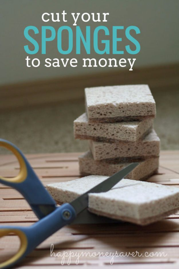 Ways to Save Money in 2018 - Cut your Sponges to Save Money - Easy Money Saving Ideas and Tips for Budgeting - Cool Idea for Budget Planning and Smart Financial Advice for Beginners - Create Order, Organize and Save Cash As You Top New Years Resolution, Every Little Bit Helps You Save For That Next Vacation! http://diyjoy.com/ways-to-save-money