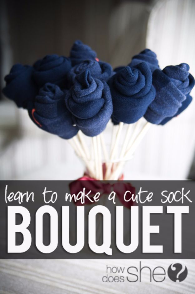 DIY Valentines Day Gifts for Him - Cute Sock Bouquet - Cool and Easy Things To Make for Your Husband, Boyfriend, Fiance - Creative and Cheap Do It Yourself Projects to Give Your Man - Ideas Guys Love These Ideas for Car, Yard, Home and Garage - Make, Don't Buy Your Valentine http://diyjoy.com/diy-valentines-gifts-him