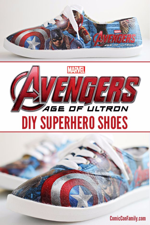 DIY Valentines Day Gifts for Him - DIY Avengers Superhero Shoes - Cool and Easy Things To Make for Your Husband, Boyfriend, Fiance - Creative and Cheap Do It Yourself Projects to Give Your Man - Ideas Guys Love These Ideas for Car, Yard, Home and Garage - Make, Don't Buy Your Valentine http://diyjoy.com/diy-valentines-gifts-him