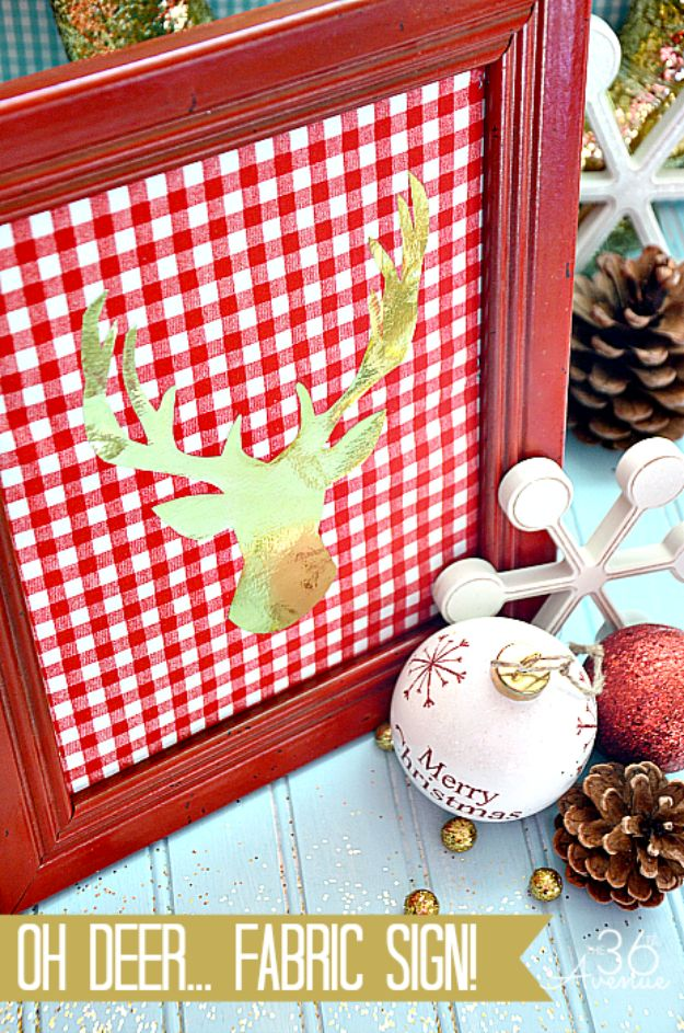 Cheap DIY Christmas Decor Ideas and Holiday Decorating On A Budget - DIY Fabric Christmas Sign - Easy and Quick Decorating Ideas for The Holidays - Cool Dollar Store Crafts for Xmas Decorating On A Budget - wreaths, ornaments, bows, mantel decor, front door, tree and table centerpieces #christmas #diy #crafts