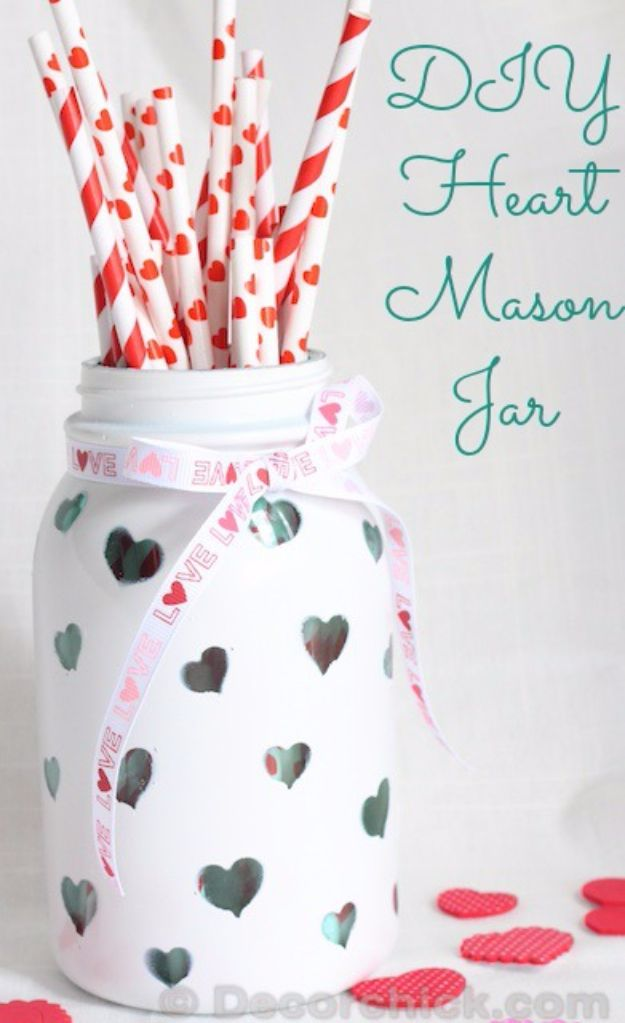 DIY Valentines Day Gifts for Her - DIY Heart Mason Jar - Cool and Easy Things To Make for Your Wife, Girlfriend, Fiance - Creative and Cheap Do It Yourself Projects to Give Your Girl - Ladies Love These Ideas for Bath, Yard, Home and Kitchen, Outdoors - Make, Don't Buy Your Valentine http://diyjoy.com/diy-valentines-gifts-her