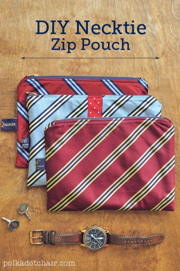 DIY Valentines Day Gifts for Him - DIY Necktie Zip Pouch - Cool and Easy Things To Make for Your Husband, Boyfriend, Fiance - Creative and Cheap Do It Yourself Projects to Give Your Man - Ideas Guys Love These Ideas for Car, Yard, Home and Garage - Make, Don't Buy Your Valentine http://diyjoy.com/diy-valentines-gifts-him