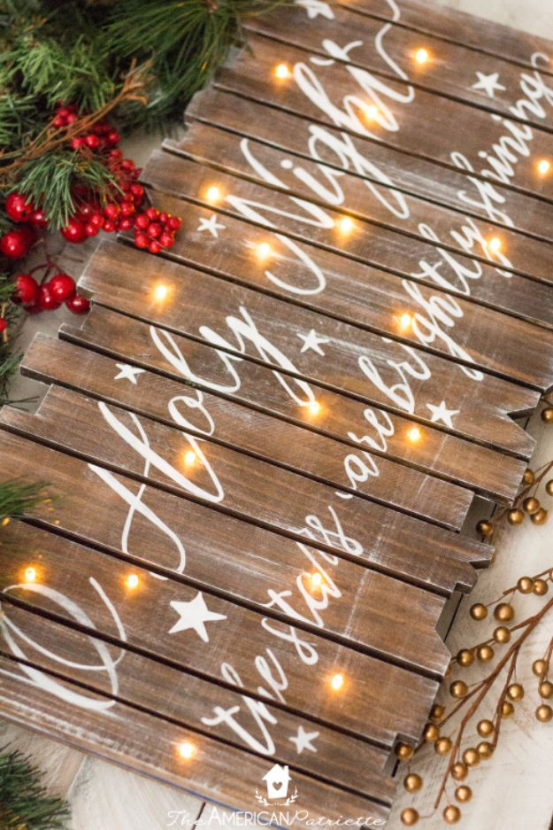 Cheap DIY Christmas Decor Ideas and Holiday Decorating On A Budget - DIY Rustic Light-Up Christmas Sign - Easy and Quick Decorating Ideas for The Holidays - Cool Dollar Store Crafts for Xmas Decorating On A Budget - wreaths, ornaments, bows, mantel decor, front door, tree and table centerpieces #christmas #diy #crafts