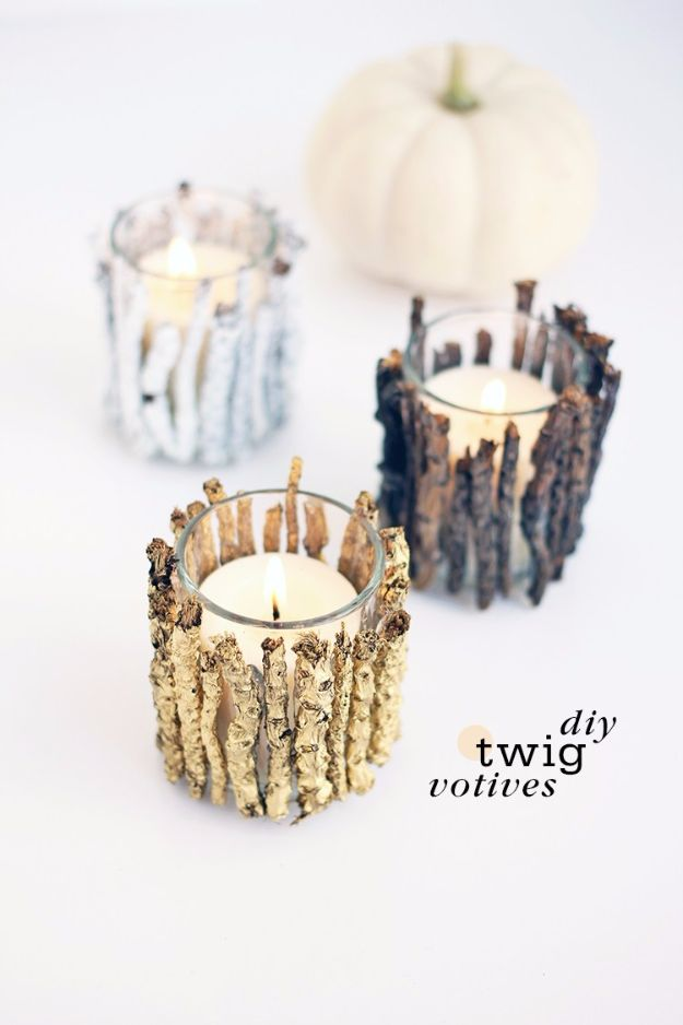 Best DIY Home Decor Crafts - DIY Twig Votive Candle Holders - Easy Craft Ideas To Make From Dollar Store Items - Cheap Wall Art, Easy Do It Yourself Gifts, Modern Wall Art On A Budget, Tabletop and Centerpiece Tutorials - Cool But Affordable Room and Home Decor With Step by Step Tutorials http://diyjoy.com/diy-home-decor-crafts