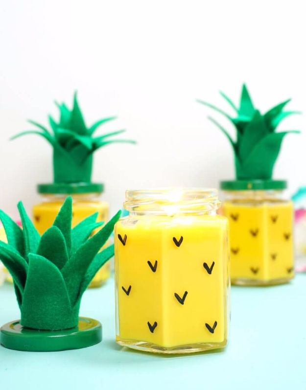 DIY Valentines Day Gifts for Her - Easy DIY Pineapple Candles - Cool and Easy Things To Make for Your Wife, Girlfriend, Fiance - Creative and Cheap Do It Yourself Projects to Give Your Girl - Ladies Love These Ideas for Bath, Yard, Home and Kitchen, Outdoors - Make, Don't Buy Your Valentine http://diyjoy.com/diy-valentines-gifts-her