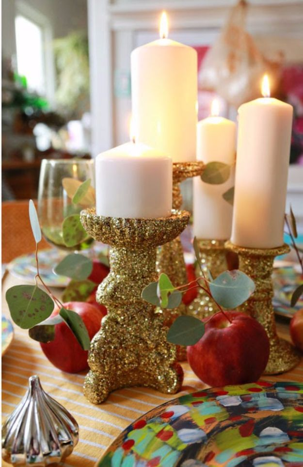 Cheap DIY Christmas Decor Ideas and Holiday Decorating On A Budget - Glitter Candlesticks - Easy and Quick Decorating Ideas for The Holidays - Cool Dollar Store Crafts for Xmas Decorating On A Budget - wreaths, ornaments, bows, mantel decor, front door, tree and table centerpieces #christmas #diy #crafts