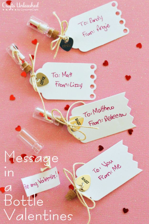DIY Valentines Day Gifts for Him - Handmade Message in a Bottle Valentines - Cool and Easy Things To Make for Your Husband, Boyfriend, Fiance - Creative and Cheap Do It Yourself Projects to Give Your Man - Ideas Guys Love These Ideas for Car, Yard, Home and Garage - Make, Don't Buy Your Valentine http://diyjoy.com/diy-valentines-gifts-him