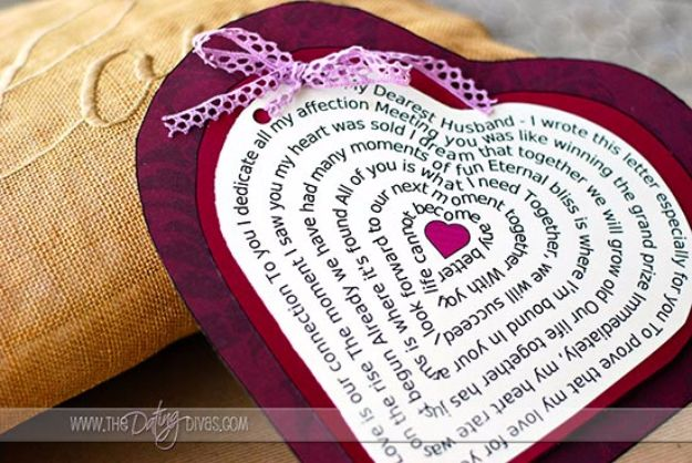 DIY Valentines Day Gifts for Her - Heart Shaped Love Poem - Cool and Easy Things To Make for Your Wife, Girlfriend, Fiance - Creative and Cheap Do It Yourself Projects to Give Your Girl - Ladies Love These Ideas for Bath, Yard, Home and Kitchen, Outdoors - Make, Don't Buy Your Valentine http://diyjoy.com/diy-valentines-gifts-her
