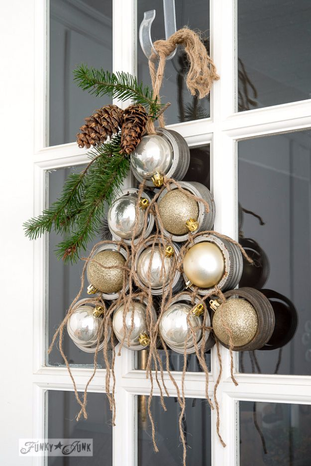 Cheap DIY Christmas Decor Ideas and Holiday Decorating On A Budget - Mason Jar Lid Ornament Christmas Tree Wreath - Easy and Quick Decorating Ideas for The Holidays - Cool Dollar Store Crafts for Xmas Decorating On A Budget - wreaths, ornaments, bows, mantel decor, front door, tree and table centerpieces #christmas #diy #crafts