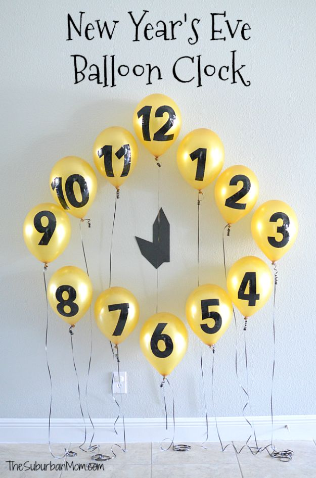New Years Eve Decor Ideas - New Year's Eve Balloon Clock Countdown - DIY New Year's Eve Decorations - Cheap Ideas for Banners, Balloons, Party Tables, Centerpieces and Festive Streamers and Lights - Cool Placecards, Photo Backdrops, Party Hats, Party Horns and Champagne Glasses - Cute Invitations, Games and Free Printables http://diyjoy.com/new-years-eve-decor-ideas