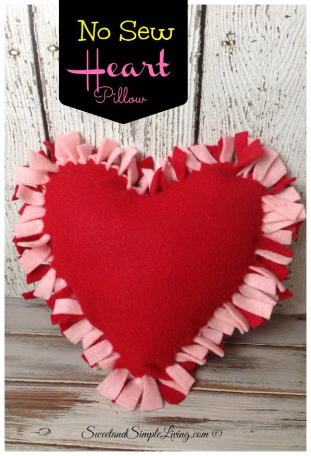 DIY Valentines Day Gifts for Her - No Sew Heart Pillow - Cool and Easy Things To Make for Your Wife, Girlfriend, Fiance - Creative and Cheap Do It Yourself Projects to Give Your Girl - Ladies Love These Ideas for Bath, Yard, Home and Kitchen, Outdoors - Make, Don't Buy Your Valentine http://diyjoy.com/diy-valentines-gifts-her