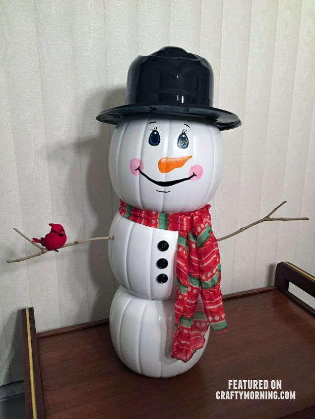 Cheap DIY Christmas Decor Ideas and Holiday Decorating On A Budget - Plastic Pumpkin Snowman - Easy and Quick Decorating Ideas for The Holidays - Cool Dollar Store Crafts for Xmas Decorating On A Budget - wreaths, ornaments, bows, mantel decor, front door, tree and table centerpieces #christmas #diy #crafts