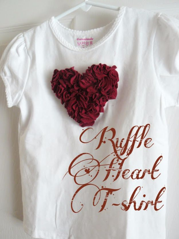 DIY Valentines Day Gifts for Her - Ruffle Heart T-shirt - Cool and Easy Things To Make for Your Wife, Girlfriend, Fiance - Creative and Cheap Do It Yourself Projects to Give Your Girl - Ladies Love These Ideas for Bath, Yard, Home and Kitchen, Outdoors - Make, Don't Buy Your Valentine http://diyjoy.com/diy-valentines-gifts-her
