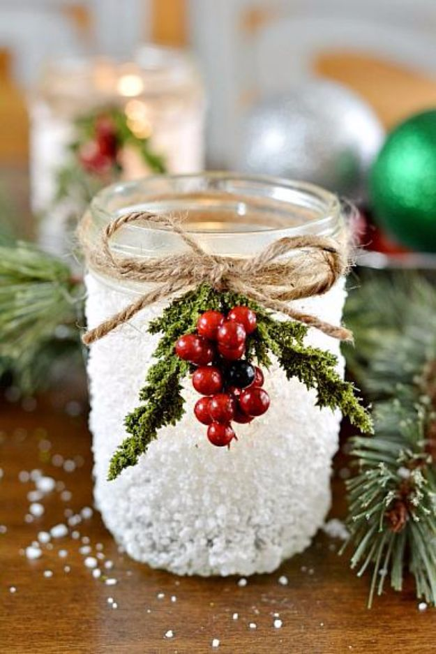 Cheap DIY Christmas Decor Ideas and Holiday Decorating On A Budget - Snowy Mason Jar - Easy and Quick Decorating Ideas for The Holidays - Cool Dollar Store Crafts for Xmas Decorating On A Budget - wreaths, ornaments, bows, mantel decor, front door, tree and table centerpieces #christmas #diy #crafts