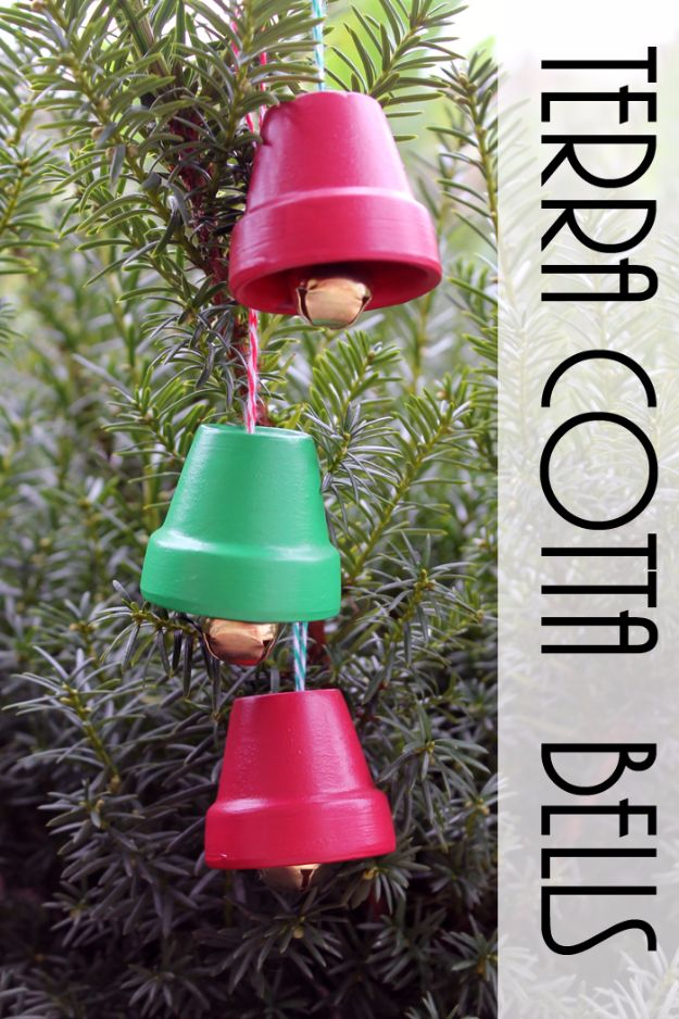 Cheap DIY Christmas Decor Ideas and Holiday Decorating On A Budget - Terra Cotta Bells - Easy and Quick Decorating Ideas for The Holidays - Cool Dollar Store Crafts for Xmas Decorating On A Budget - wreaths, ornaments, bows, mantel decor, front door, tree and table centerpieces #christmas #diy #crafts
