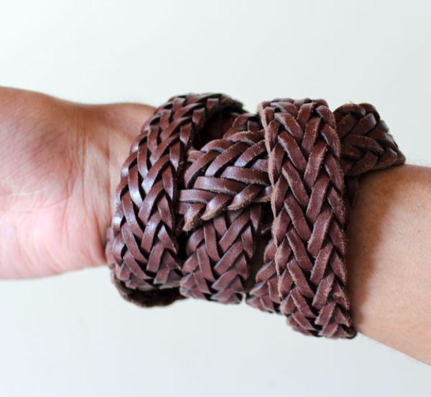 DIY Valentines Day Gifts for Him - Upcycled Leather Bracelet - Cool and Easy Things To Make for Your Husband, Boyfriend, Fiance - Creative and Cheap Do It Yourself Projects to Give Your Man - Ideas Guys Love These Ideas for Car, Yard, Home and Garage - Make, Don't Buy Your Valentine http://diyjoy.com/diy-valentines-gifts-him
