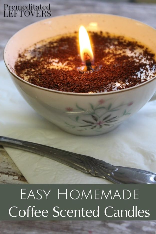 DIY Ideas for The Coffee Lover - Coffee Scented Candles - Easy and Cool Gift Ideas for People Who Love Coffee Drinks - Coaster, Cups and Mugs, Tumblers, Canisters and Do It Yourself Gift Ideas - Gift Jars and Baskets, Fun Presents to Make for Mom, Dad and Friends http://diyjoy.com/diy-ideas-coffee-lover
