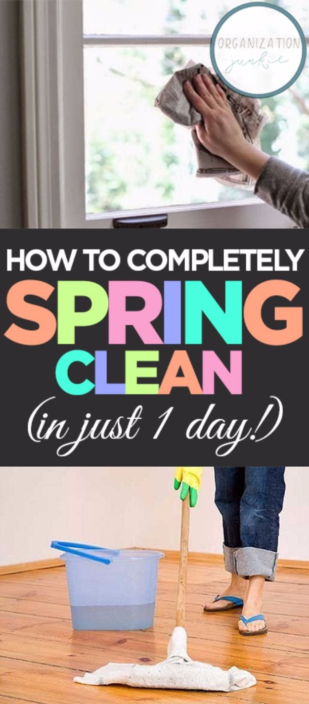 Best Spring Cleaning Ideas - Completely Spring Clean In One Day - Easy Cleaning Tips For Home - DIY Cleaning Hacks and Product Recipes - Tips and Tricks for Cleaning the Bathroom, Kitchen, Floors and Countertops - Cheap Solutions for A Clean House http://diyjoy.com/best-spring-cleaning-ideas