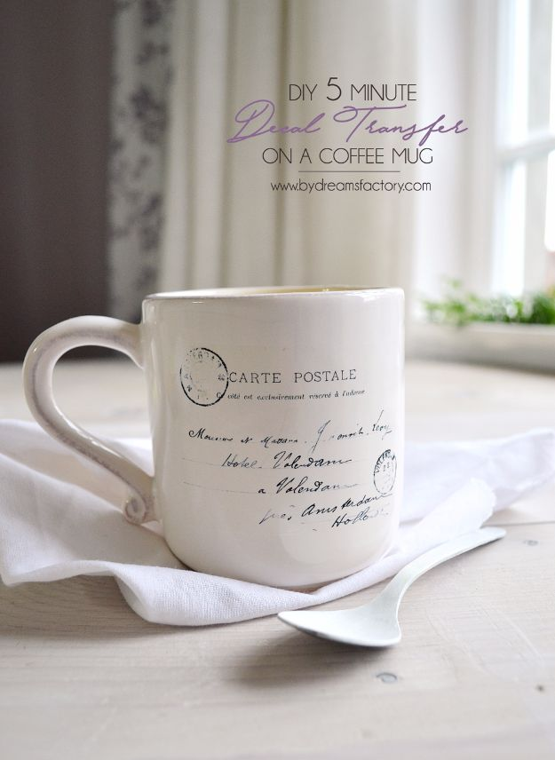 DIY Coffee Mugs - DIY 5-Minute Decal Transfer On A Coffee Mug - Easy Coffee Mug Ideas for Homemade Gifts and Crafts - Decorate Your Coffee Cups and Tumblers With These Cool Art Ideas - Glitter, Paint, Sharpie Craft, Nail Polish Water Marble and Teen Projects http://diyjoy.com/diy-coffee-mugs