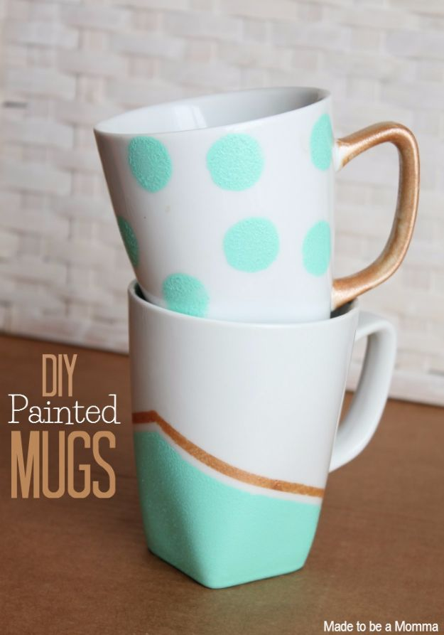 DIY Coffee Mugs - DIY Painted Mugs - Easy Coffee Mug Ideas for Homemade Gifts and Crafts - Decorate Your Coffee Cups and Tumblers With These Cool Art Ideas - Glitter, Paint, Sharpie Craft, Nail Polish Water Marble and Teen Projects http://diyjoy.com/diy-coffee-mugs