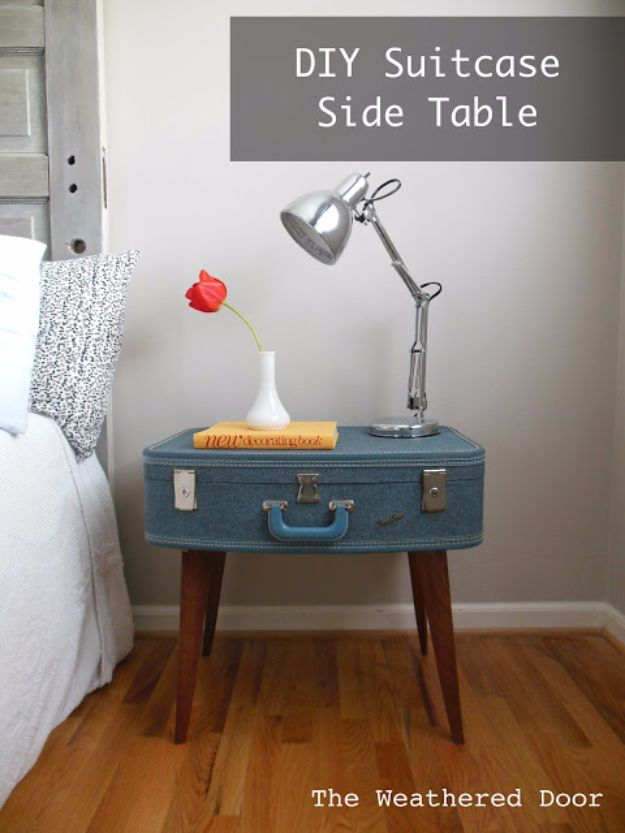 DIY Nightstands for the Bedroom - DIY Suitcase Side Table - Easy Do It Yourself Bedside Tables and Furniture Project Ideas - Thrift Store Makeovers For Your Room and Bed Side Night Stand - Storage for Books and Remotes, Cute Shabby Chic and Vintage Decor - Step by Step Tutorials and Instructions http://diyjoy.com/diy-nightstands-bedroom