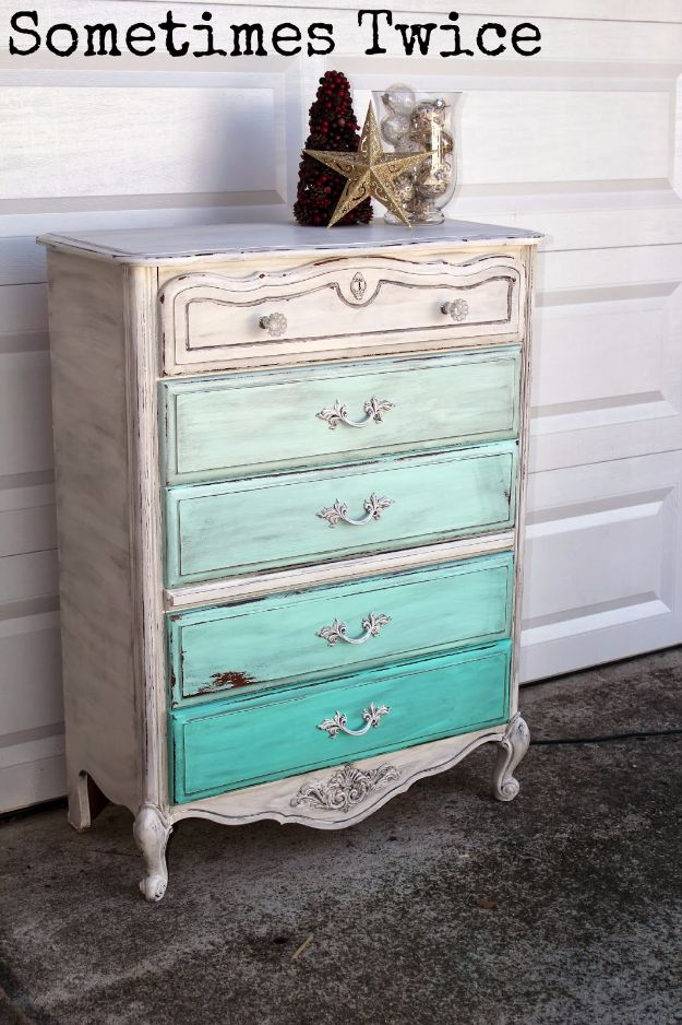 DIY Dressers - Ombre Dresser - Simple DIY Dresser Ideas - Easy Dresser Upgrades and Makeovers to Create Cool Bedroom Decor On A Budget- Do It Yourself Tutorials and Instructions for Decorating Cheap Furniture - Crafts for Women, Men and Teens http://diyjoy.com/diy-dresser-ideas