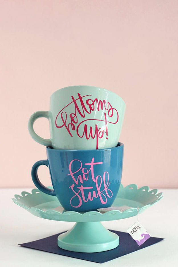 DIY Coffee Mugs - Personalized Coffee Mug - Easy Coffee Mug Ideas for Homemade Gifts and Crafts - Decorate Your Coffee Cups and Tumblers With These Cool Art Ideas - Glitter, Paint, Sharpie Craft, Nail Polish Water Marble and Teen Projects http://diyjoy.com/diy-coffee-mugs