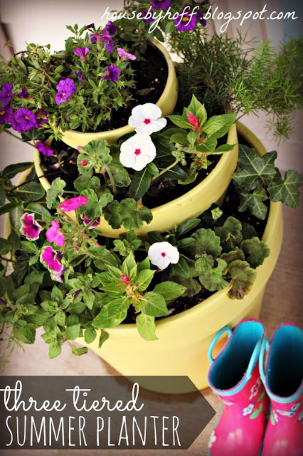 DIY Outdoor Planters - Three Tiered Summer Planter - Easy Planter Ideas to Make for The Porch, Pation and Backyard - Your Plants Will Love These DIY Plant Holders, Potting Ideas and Planter Boxes - Gardening DIY for Big and Small Plants Outdoors - Concrete, Wood, Cheap, Simple, Modern and Rustic Projects With Step by Step Instructions http://diyjoy.com/diy-oudoor-planters