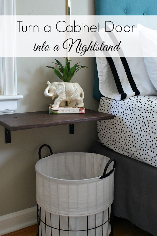 DIY Nightstands for the Bedroom - Turn A Cabinet Door Into A Nightstand - Easy Do It Yourself Bedside Tables and Furniture Project Ideas - Thrift Store Makeovers For Your Room and Bed Side Night Stand - Storage for Books and Remotes, Cute Shabby Chic and Vintage Decor - Step by Step Tutorials and Instructions http://diyjoy.com/diy-nightstands-bedroom
