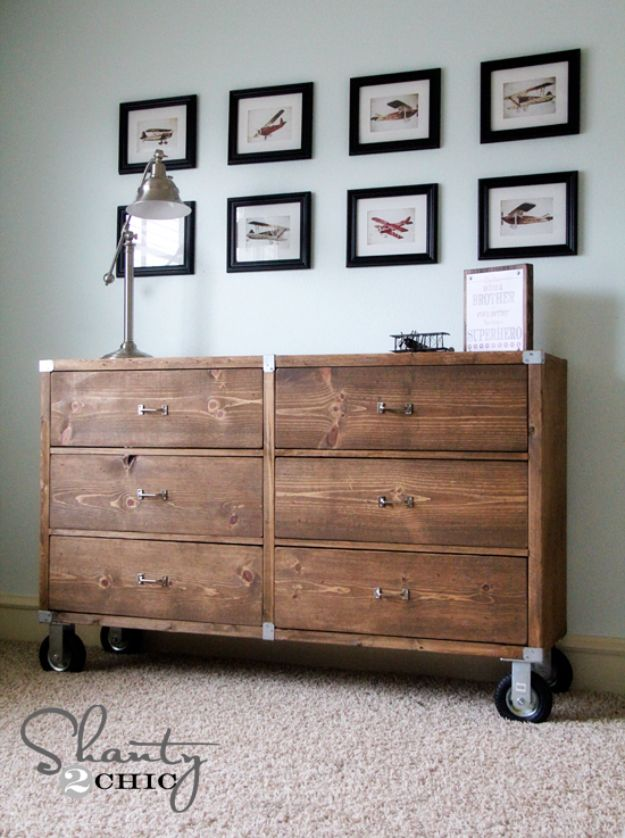 DIY Dressers - Wood Dresser with Wheels - Simple DIY Dresser Ideas - Easy Dresser Upgrades and Makeovers to Create Cool Bedroom Decor On A Budget- Do It Yourself Tutorials and Instructions for Decorating Cheap Furniture - Crafts for Women, Men and Teens http://diyjoy.com/diy-dresser-ideas