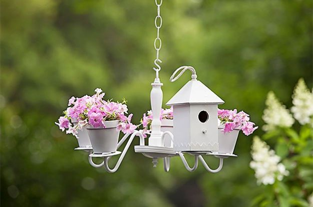 DIY Bird Houses - Chandelier Birdhouse and Planter - Easy Bird House Ideas for Kids and Adult To Make - Free Plans and Tutorials for Wooden, Simple, Upcyle Designs, Recycle Plastic and Creative Ways To Make Rustic Outdoor Decor and a Home for the Birds - Fun Projects for Your Backyard This Summer http://diyjoy.com/diy-bird-houses