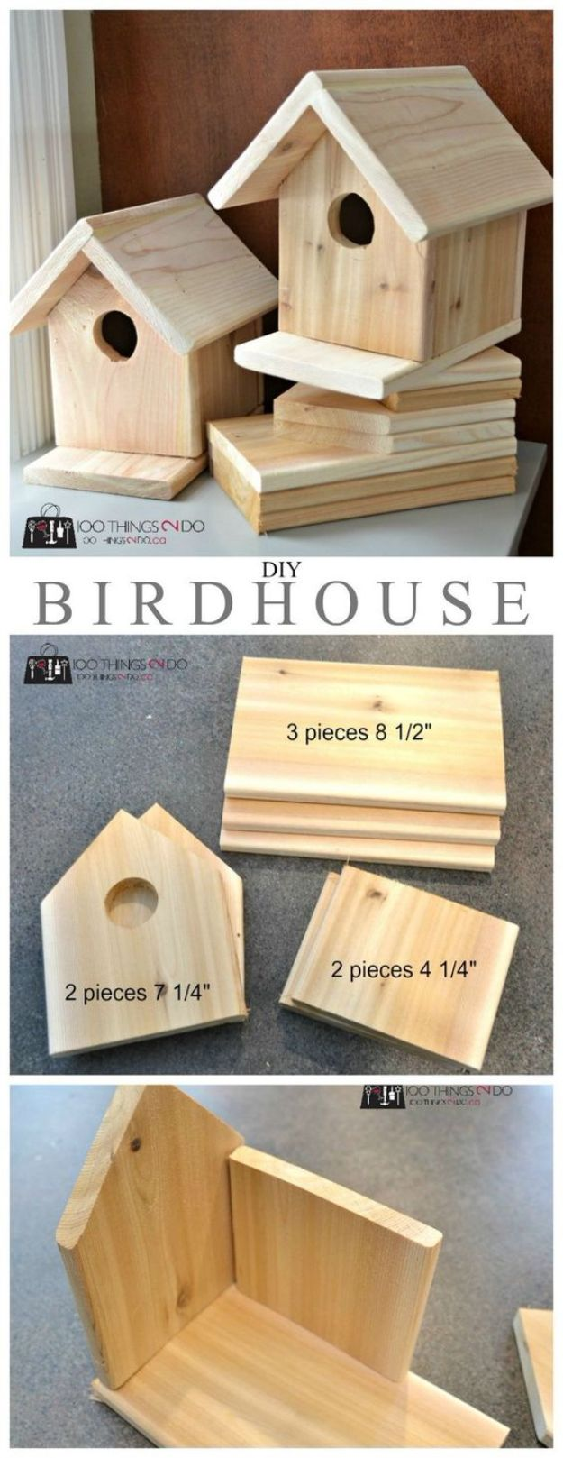 DIY Bird Houses - DIY Cedar Birdhouse - Easy Bird House Ideas for Kids and Adult To Make - Free Plans and Tutorials for Wooden, Simple, Upcyle Designs, Recycle Plastic and Creative Ways To Make Rustic Outdoor Decor and a Home for the Birds - Fun Projects for Your Backyard This Summer http://diyjoy.com/diy-bird-houses