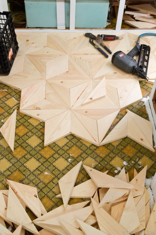 DIY Flooring Projects - DIY Geometric Wood Flooring for $80 - Cheap Floor Ideas for Those On A Budget - Inexpensive Ways To Refinish Floors With Concrete, Laminate, Plywood, Peel and Stick Tile, Wood, Vinyl - Easy Project Plans and Unique Creative Tutorials for Cool Do It Yourself Home Decor http://diyjoy.com/diy-flooring-projects